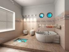 Светлые ванные комнаты с морской тематикой