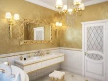 Дизайн ванной с золотом