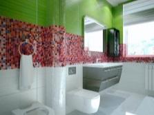 дизайн ванной комнаты - зеленый и красный
