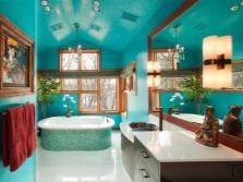 дизайн ванной комнаты бирюзового цвета