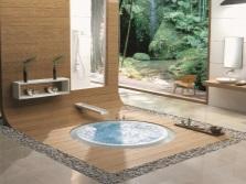 дизайн ванной комнаты с встроенной ванной