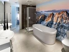 Дизайн ванной комнаты с панно