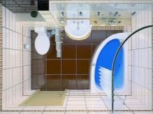 Прямоугольная ванная комната с душевой кабиной - вид сверху