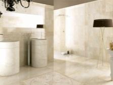 Античный стиль ванной с каменными раковинами