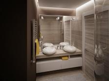 Подходящий интерьере ванной с умывальниками из искусственного камня