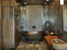 Подходящий дизайн ванной комнате с раковиной из натурального камня