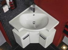 Угловая тумбочка под раковину для ванной