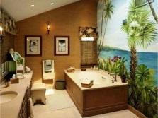 Морская тема на фотообоях в ванной