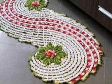 Дизайн коврика вязанного крючком для ванной и туалета