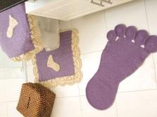 Дизайн вязанного крючком коврика для ванной и туалета