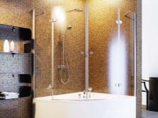 Распашная угловая шторка для ванны