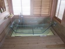 Размещение прозрачной ванны в ванной комнате