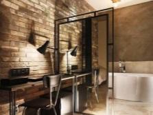 Кирпичные и оштукатуренные стены в ванной комнате в стиле лофт