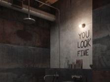 Ванная комната в стиле лофт - металлические стены