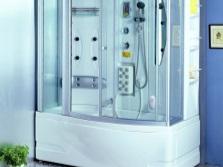 Гидробокс с прямоугольной ванной в небольшую ванную комнату