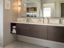 Подвесная классическая прямоугольная тумба с двумя раковинами для ванной комнаты