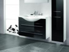 Подвесная тумба стандартных размеров со встроенной раковиной для ванной комнаты