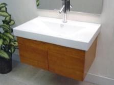 Подвесная тумба маленького размера с раковиной для ванной комнаты