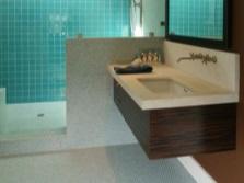 Прямугольная подвесная тумба со встраиваемой прямоугольной раковиной для ванной комнаты