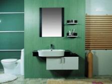 Ассиметричная подвесная тумба с овальной раковиной для ванной комнаты