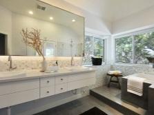 Подвесная прямоугольная тумба с раковинами для ванной комнаты