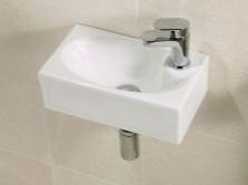 Подвесной умывальник белого цвета шириной 40см для маленькой ванной или санузла