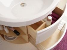 Тумба с встроенной раковиной с выдвижной корзиной для белья и ящиком под ванные принадлежности