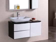 Черно-белая навесная тумба 70см с умывальником для ванной