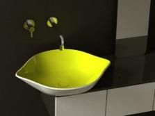 Накладной желто-белый умывальник в форме лимона