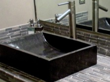 Прямоугольный умывальник для ванной из черного мрамора