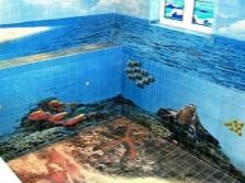 3D-плитка для ванной комнаты - морское дно с его обитателями и поверхность моря