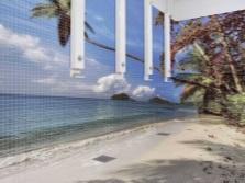 3D-плитка для санузла - пляж, пальмы, море, небо