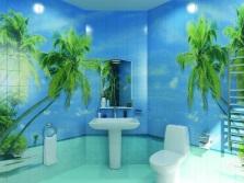 3D-плитка с пальмами для стен ванной комнаты
