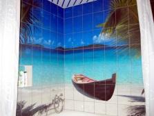 3D-плитка на стены ванной комнаты - пляж, лодка, море, пальмы