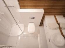 Душевая кабина в интерьере маленькой ванной комнаты, совмещенной с туалетом