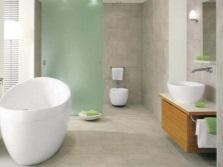 Деление интерьера ванной комнаты, совмещенной с туалетом при помощи стеклянных перегородок
