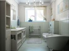 Интерьер ванной комнаты, совмещенной с туалетом - ванна на лапах, унитаз с инсталляцией, большая тумба и пенал