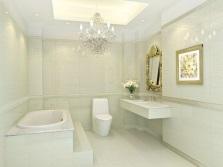 Потолочная подсветка и люстра в интерьере ванной комнаты, совмещенной с туалетом в стиле модерн