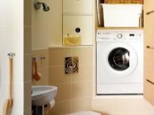 Встраиваемый в нишу в стене шкаф для стиральной машины в ванной