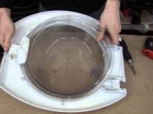Разборка люка стиральной машины и замена ручки