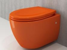 напольный унитаз в оранжевом цвете