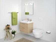 безободковый унитаз в интерьере ванной комнаты