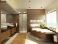 дизайн ванной комнаты бежевой