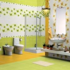 Желто-зеленая ванная с белым