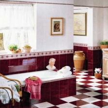 Бело-бордовая ванная