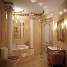 Освещение соответствующее общему стилю ванной комнаты