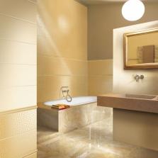 Золотая отделка в светлой ванной