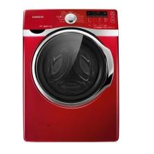 узкая стиральная машина в красном цвете