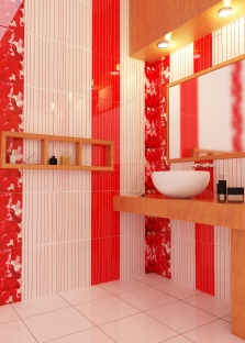Плитка для красно-белой ванной