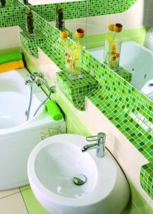 Салатовый цвет в современной ванной